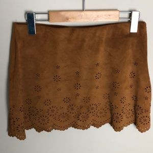 Zara Trafaluc Brown Scalloped Skirt Size M